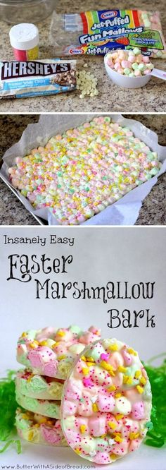 Easter Marshmallow Bark. Lachlan is a marshmallow-lover, so I might make this as a treat for his Easter basket.