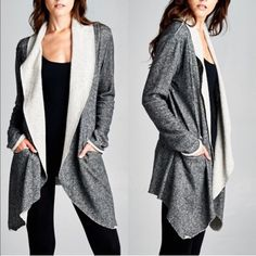 XX - CAYMIELYNN terry cardigan - BLACK Long Sleeve french terry open easy flow cardigan with pockets. Fabric 99% Cotton, 1% Polyester Made in USA NO TRADE, PROCE FIRM Bellanblue Jackets & Coats