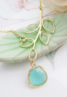 Simple Leaf with Sea Foam Mint Opal Glass Drop