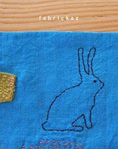 handmade*zakka | fabrickaz+idees Lucy Mae, Thread Art, Handicraft, Fiber Art, Needlework, Stitching, Balloons, Weaving, Bunny