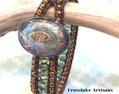 Silver and coral cuff bracelet with enamel by CrosslakeArtisans