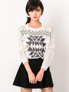 Tribal Print Asymmetric Knit Sweater $29.50