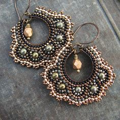 Bronze Mosaic Earrings, Green Gold Hoop Earrings, Brass Beaded Earrings