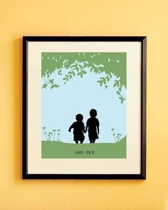 Childrens Silhouette Print Custom - Siblings