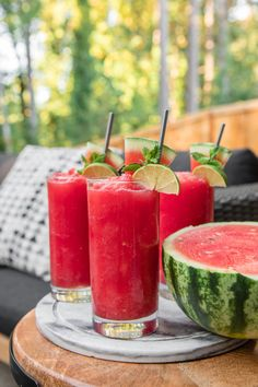 refreshing Watermelon Slushie Recipe is made with only 4 healthy ingredients! It's easy to make and perfect for a hot summer day. Vegan, Gluten-Free, and Refined Sugar Free via Watermelon Slushie, Watermelon Smoothie Recipes, Fruit Smoothies, Healthy Smoothies, Healthy Drinks, Healthy Snacks, Nutrition Drinks, Healthy Breakfasts, Eating Healthy
