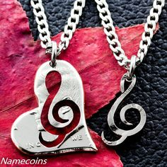 Treble Clef Heart Necklace, Couples music jewelry, hand cut half dolla – NameCoins