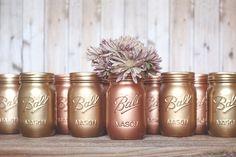 3 bemalte Maurer Gläser. Vasen. Kupfer Rotgold von StyleJarsandCans