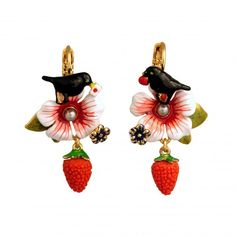Eclatante Discrétion Earrings Robin,Flower and Strawberry