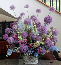 Arrangement from May 14, 2013: delphiniums, snapdragons, and alliums