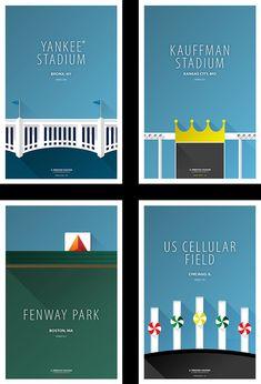 """Minimalist Baseball Stadiums,"" by S. Preston Chuhon. Very nice! I love the Citgo logo in the Fenway piece."