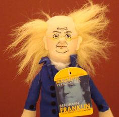Ben Franklin Finger Puppet - Founding father and scientist, Benjamin Franklin, can entertain as a finger puppet, or decorate your fridge as a magnet. ($5.50)