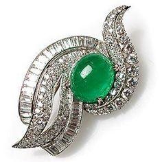 Retro Vintage Natural Emerald & Diamond Brooch Pin Solid Platinum Estate Jewelry   eBay