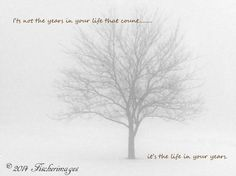 Black & White  Lone Tree in Winter Fog with Inspirational Quote Wall Art Home Decor Digital Download Photo Print Fine Art Photography