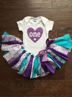 Purple Teal Chevron First Birthday Outfit/Fabric by MeadowsMarvels