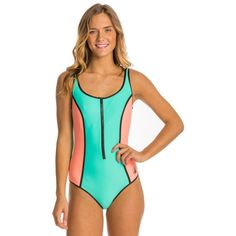 Body Glove Womens Neo What? Retro Zip One Piece Swimsuit (£63) ❤ liked on Polyvore featuring swimwear, one-piece swimsuits, lagoon, retro one piece bathing suits, body glove bathing suits, sporty bathing suits, zipper swimsuit and 1 piece bathing suits