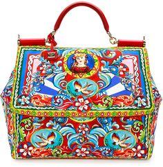 Dolce   Gabbana Miss Sicily Extra-Large Court Printed Satchel Bag e42956b5d6e4f