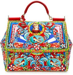 Dolce & Gabbana Miss Sicily Extra-Large Court Printed Satchel Bag, Multicolor
