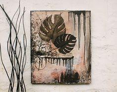 "Wanddeko - Acrylmalerei ""Fensterblatt braun"" Leinwandbild - ein Designerstück von ngmSTYLE bei DaWanda"