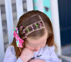 Half up side and connected ponytails. This is easily as style you could start doing on a toddler that has minimal hair as long as she will…