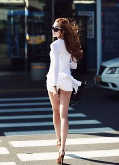 #sexy #white #dress #asian #girl #street #crossing