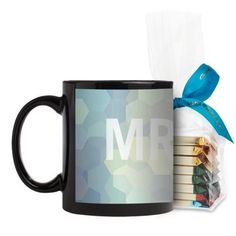 Abstract Hexagons Mug, Black, with Ghirardelli Assorted Squares, 11 oz, White