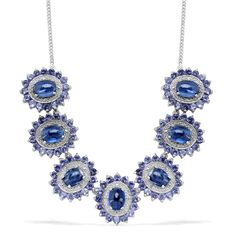 Liquidation Channel: Himalayan Kyanite, Iolite, and Diamond Necklace (20 in) in Platinum Overlay Sterling Silver (Nickel Free)
