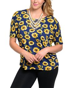 Loving this Royal & Yellow Floral Mesh-Back Top - Plus on #zulily! #zulilyfinds