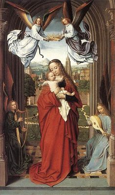 Gerard David Virgin and Child with Four Angels painting, oil on canvas & frame; Gerard David Virgin and Child with Four Angels is shipped worldwide, 60 days money back guarantee. Catholic Art, Religious Art, Robert Campin, Gerard David, Renaissance Kunst, Renaissance Artworks, Queen Of Heaven, Blessed Mother Mary, Mary And Jesus