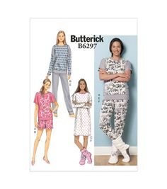 Butterick Pattern B6297-Zz0-Misses' Top Dress Shorts Pants And Lounge Socks-L-Xl-Xxl