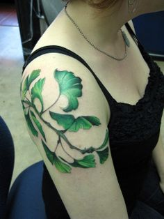 """I'm not particularly partial or impartial to ginko leaves specifically; but I LOVE the vibrant greens and deep shadows in this piece. I've wanted a """"floral leg"""" for many years; an all-green like this would be amazing. Nature Tattoos, Life Tattoos, Body Art Tattoos, Cool Tattoos, Tatoos, Tattoo Art, Heron Tattoo, Arm Tattoo, Green Tattoos"""