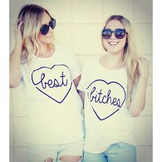 t-shirt tees2peace bbf bff bff shirts best bitches best friend shirts heart heart cut out blonde hair the brunette bestfriend shirt girly girl bad girls club best friends top couple tees white tees bitch sexy sexy sweater