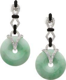 Estate Jewelry:Earrings, Jade, Diamond, Black Onyx, White Gold Earrings, Eli Frei. ...Heritage Auctions