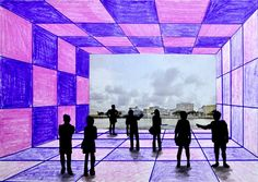 To understand the rules of the one point perspective awe created this work in mixed media. It's a big hall, with a huge window overlooking a landscape, with some people looking out. With stud…