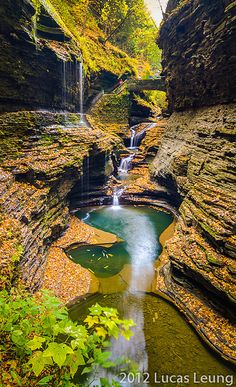 Watkins Glen State Park, located outside the village of Watkins Glen, New York, south of Seneca Lake in Schuyler County in the Finger Lakes region. By Lucas Leung