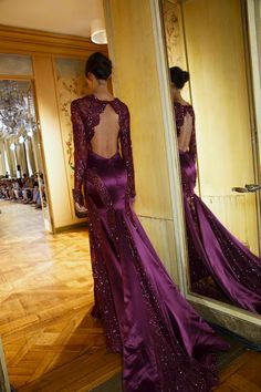 Zuhair Murad back view of purple lave and satin gown