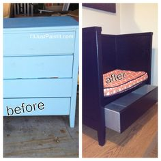 Repurposed dresser. I saw a solid wood dresser at a sale in Granville yesterday. $5  Wish I would have seen this post before then. It was basic and the drawers were rough, but could have ditched them.