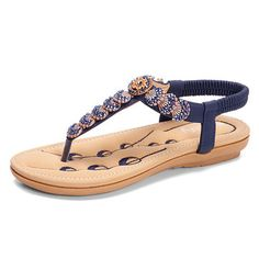 19af9bb1643 Socofy Socofy Flowers Decoration Elastic Bohemia Beaded Clip Toe Casual  Beach Sandals is comfortable to wear. Shop on NewChic to see other cheap  women ...