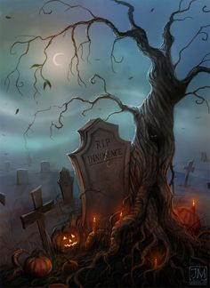 'Tis the night — the night Of the grave's delight, And the warlocks are at their play; Ye think that without The wild winds shout, But no, it is they — it is they. ~Arthur Cleveland Coxe Halloween Graveyard, Halloween Art, Darkness, Halloween Artwork, Halloween Jewelry, Dark