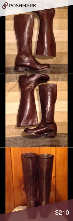 "Frye Melissa Button Back Zip Dark Brown Boots EUC! Gorgeous boots Worn handful of times but only to try on in my home-but I've decided to sell- they are a size too small for me- pics are accurate Frye Melissa Button Back Zip Dark Brown size 6  Description-Made of smooth vintage leather burnished to a gleam, the signature Melissa buttons adorn the back. //Almond toe//Back zip closure with foldover snap button strap//Leather construction//Topstitched detail//Stacked block heel//Approx. 16.25""…"