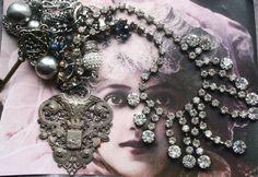 Antique Assemblage Vintage Assemblage Assemblage by IRISHTREASURE Red Jewelry, Royal Jewelry, Gothic Jewelry, Vintage Jewelry, Jewellery, Unusual Jewelry, Handmade Jewelry, Jewelry Crafts, Found Object Jewelry