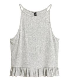 d5d258517c2f Grey tank top in ribbed viscose jersey with narrow shoulder straps and  flounce at hem.