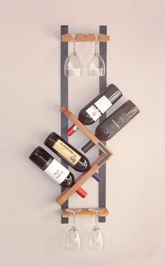 Wall Mounted Wine Rack And Glass Holder Wine Glass Holder Wine Bottle Wall, Wine Glass Holder, Wine Bottle Holders, Wall Wine Holder, Wine Bottles, Wine Decanter, Modern Wine Rack, Unique Wine Racks, Rustic Wine Racks