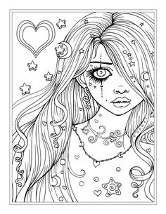 """Worry"" free fantasy girl coloring page by Molly Harrison"