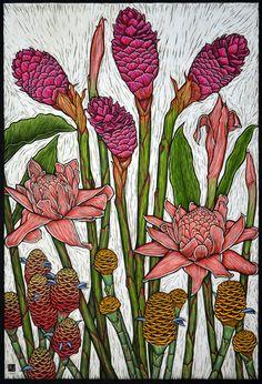 """Tropical Gingers"" linocut by Rachel Newling. http://rachelnewling.com/ Tags: Linocut, Cut, Print, Linoleum, Lino, Carving, Block, Woodcut, Helen Elstone, Flowers, Fruit, Exotic, Plants."