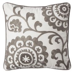 """Embrace the mixture of the modern pattern and the look of antique handwork found in this Threshold™ Suzani 18""""x18"""" Embroidered Pillow. It has a cotton cover for natural comfort, and it is generously filled with polyester that holds its shape and resists an unkept, baggy appearance."""