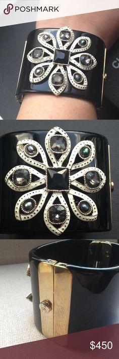 5a05795d515e CHANEL Crystal Flower Resin Cuff Bracelet This gently pre-owned Chanel  Crystal Flower Resin Cuff