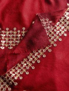Red - Golden Zari Booti & Gota Border Cashmere Wool Shawl