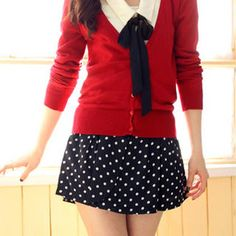 I really like this outfit with the red sweater navy blue and white polka dot skirt, white collated blouse, and black ribbon at the neck.