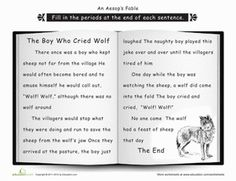 Second Grade Reading & Writing Worksheets: Punctuation: The Wolf and the Goat Punctuation Worksheets, Comprehension Worksheets, Writing Worksheets, Reading Comprehension, Second Grade Writing, 2nd Grade Reading, Importance Of Honesty, Teaching Schools, Teaching Ideas