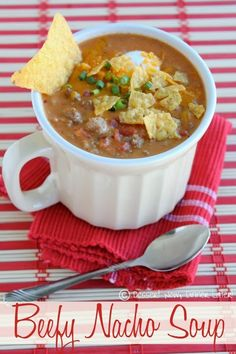 Beefy Nacho Soup - Cheesy, beefy, with a little kick.  This soup has only 7 ingredients & is ready to eat in 15 minutes. | DessertNowDinnerLater.com